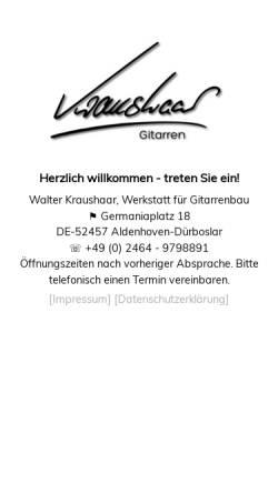 Vorschau der mobilen Webseite www.kraushaar-gitarren.de, Kraushaar, Walter