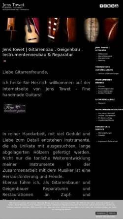 Vorschau der mobilen Webseite www.towet-gitarren.com, Towet Gitarrenbau