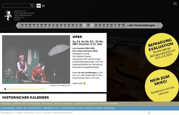 Vorschau von www.hmt-leipzig.de, Hochschule für Musik und Theater Felix Mendelssohn Bartholdy