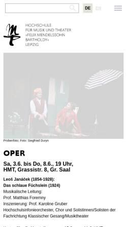 Vorschau der mobilen Webseite www.hmt-leipzig.de, Hochschule für Musik und Theater Felix Mendelssohn Bartholdy