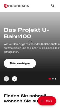 Vorschau der mobilen Webseite www.hochbahn.de, Hamburger Hochbahn