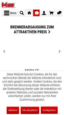 Vorschau der mobilen Webseite mss-schweisstechnik.de, MSS Magdeburger Schweiß- und Schleiftechnik GmbH