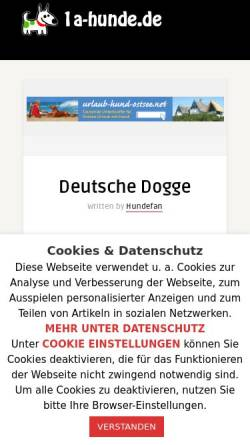 Vorschau der mobilen Webseite www.doggen-nothilfe.de, Doggen-Nothilfe e.V.