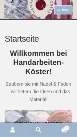 Vorschau der mobilen Webseite www.handarbeiten-koester.de, Handarbeiten Koester