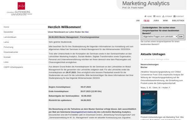 Vorschau von www.marketing-i.bwl.uni-mainz.de, Universität Mainz