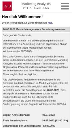 Vorschau der mobilen Webseite www.marketing-i.bwl.uni-mainz.de, Universität Mainz