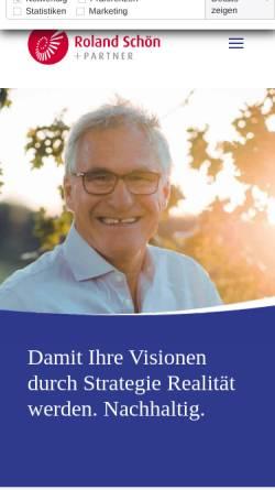 Vorschau der mobilen Webseite www.rolandschoen.de, Roland Schoen + Kollegen - Ganzheitliche Beratung zur Entwicklung der Einzigartigkeit des Unternehmens