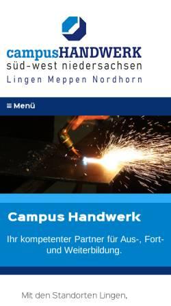 Vorschau der mobilen Webseite www.btz-handwerk.de, BTZ Berufsbildungs- und Technologiezentrum des Handwerks GmbH