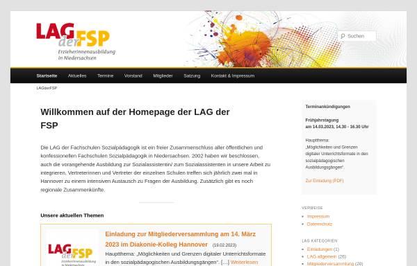 Vorschau von www.lagderfsp.de, Landesarbeitsgemeinschaft der Fachschulen für Sozialpädagogik Niedersachsen