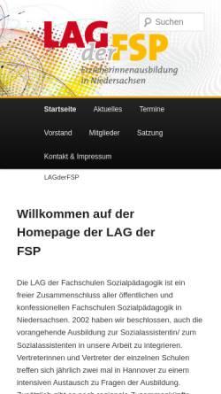 Vorschau der mobilen Webseite www.lagderfsp.de, Landesarbeitsgemeinschaft der Fachschulen für Sozialpädagogik Niedersachsen