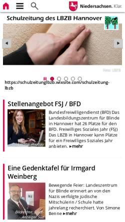 Vorschau der mobilen Webseite www.lbzb.de, Landesbildungszentrum für Blinde Hannover