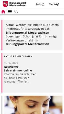 Vorschau der mobilen Webseite www.nibis.de, NiBiS - Niedersächsischer Bildungsserver