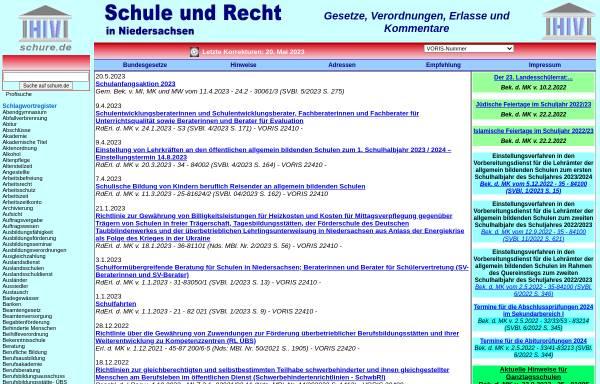 Vorschau von www.schure.de, Schule und Recht in Niedersachsen