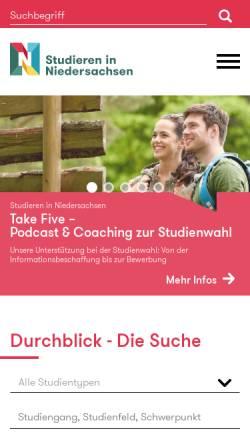 Vorschau der mobilen Webseite www.kfsn.uni-hannover.de, Studieren in Niedersachsen