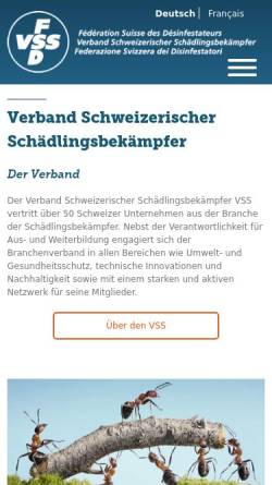 Vorschau der mobilen Webseite www.fsd-vss.ch, Verband Schweizerischer Schädlingsbekämpfer