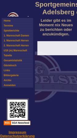 Vorschau der mobilen Webseite sga.nicsys.de, Basketballabteilung der Sportgemeinschaft Adelsberg e.V.