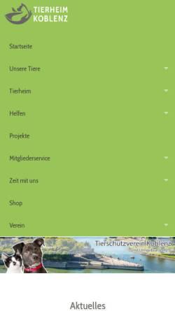 Vorschau der mobilen Webseite www.tierheim-koblenz.de, Tierheim Koblenz