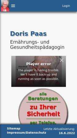 Vorschau der mobilen Webseite www.dorispaas.de, Das Laktose-Intoleranz Buch