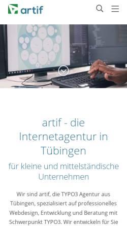 Vorschau der mobilen Webseite artif.com, artif GmbH & Co. KG