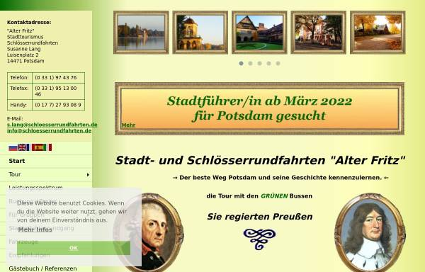 Vorschau von www.schloesserrundfahrten.de, Alter Fritz - Stadt- und Schlösserrundfahrten, Susanne Lang