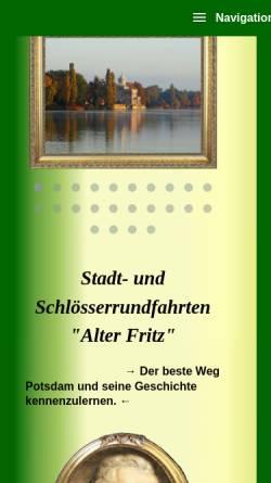 Vorschau der mobilen Webseite www.schloesserrundfahrten.de, Alter Fritz - Stadt- und Schlösserrundfahrten, Susanne Lang