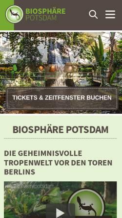 Vorschau der mobilen Webseite www.biosphaere-potsdam.de, Biosphäre