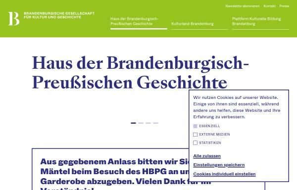 Vorschau von www.hbpg.de, Haus der Brandenburgisch-Preußischen Geschichte (HBPG)
