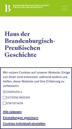 Vorschau der mobilen Webseite www.hbpg.de, Haus der Brandenburgisch-Preußischen Geschichte (HBPG)