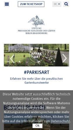Vorschau der mobilen Webseite www.spsg.de, Stiftung Preußische Schlösser und Gärten