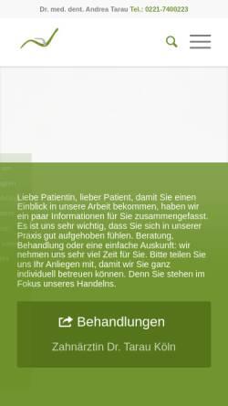 Vorschau der mobilen Webseite www.tarau.de, Dr. med dent Andrea Tarau, Zahnärztin