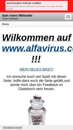 Vorschau der mobilen Webseite sam-rivers.beepworld.de, Alfavirus