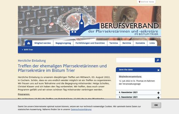 Vorschau von www.bvps-trier.de, Berufsverband der Pfarrsekretärinnen und -sekretäre im Bistum Trier