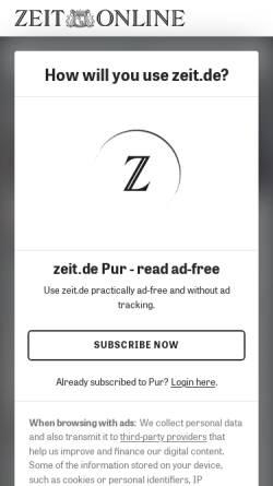 Vorschau der mobilen Webseite www.zeit.de, Die Zeit - Philosophische Hilfestellungen: Udo Jürgens, Selbstdarsteller