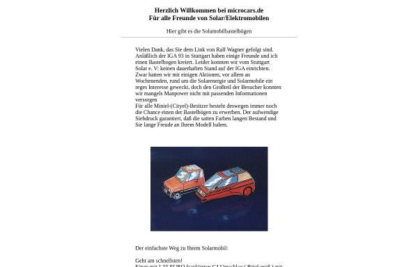 Vorschau von www.microcars.de, Solarmobile als Bastelbögen