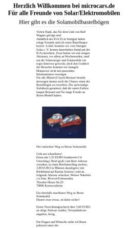 Vorschau der mobilen Webseite www.microcars.de, Solarmobile als Bastelbögen