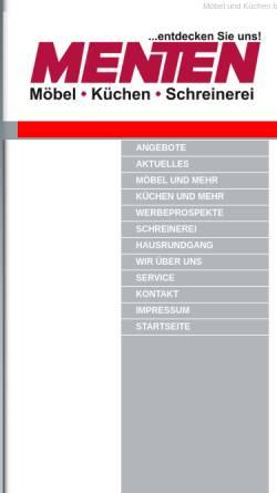 Vorschau der mobilen Webseite www.moebel-menten.de, Möbel Menten
