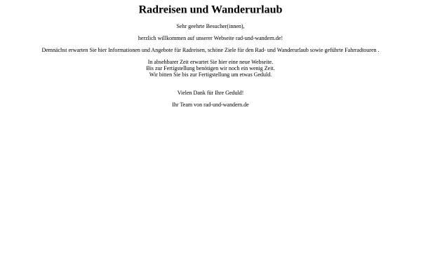 Vorschau von www.rad-und-wandern.de, Mit Rad und Wanderschuh