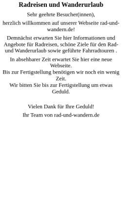 Vorschau der mobilen Webseite www.rad-und-wandern.de, Mit Rad und Wanderschuh