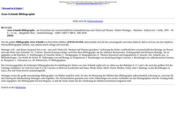Vorschau von www.bsz-bw.de, Arno-Schmidt-Bibliographie [Robert Weninger]