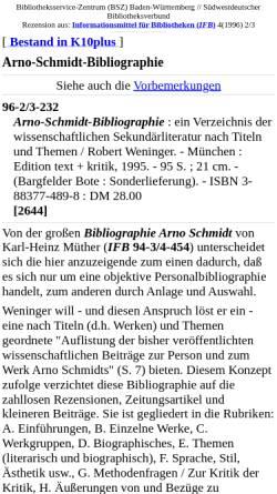 Vorschau der mobilen Webseite www.bsz-bw.de, Arno-Schmidt-Bibliographie [Robert Weninger]