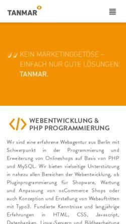 Vorschau der mobilen Webseite www.tanmar.de, Tanmar Webentwicklung