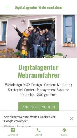 Vorschau der mobilen Webseite www.webraumfahrer.com, Webraumfahrer GmbH