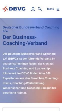 Vorschau der mobilen Webseite www.dbvc.de, DBVC - Deutscher Bundesverband Coaching e.V.