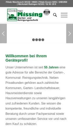 Vorschau der mobilen Webseite www.motoren-missing.de, Motoren Missing GmbH