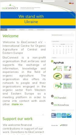 Vorschau der mobilen Webseite www.ekoconnect.org, EkoConnect - Internationales Zentrum für Ökologischen Landbau Mittel- und Osteuropas e. V.