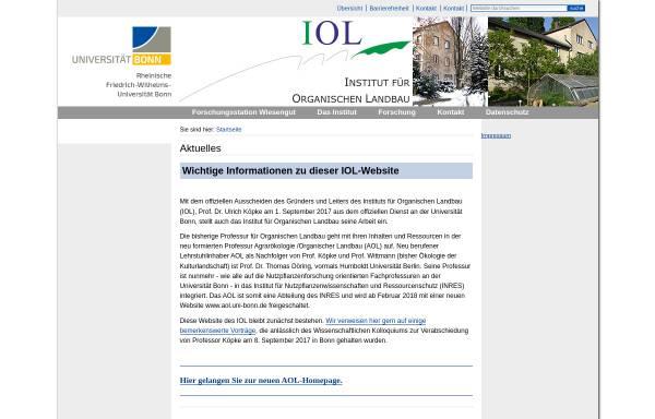 Vorschau von www.iol.uni-bonn.de, Institut für Organischen Landbau