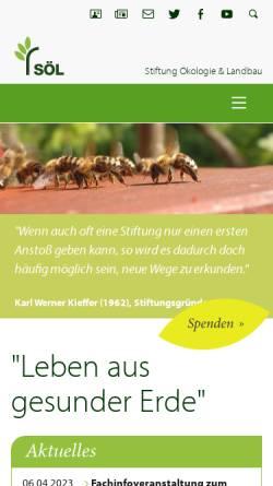 Vorschau der mobilen Webseite www.soel.de, Stiftung Ökologie & Landbau