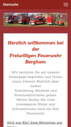 Vorschau der mobilen Webseite www.feuerwehr-bergham.de, Freiwillige Feuerwehr Bergham