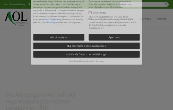 Vorschau von www.agrarpresse-aol.de, AOL - Arbeitsgemeinschaft Organisationsgebundene Landpresse