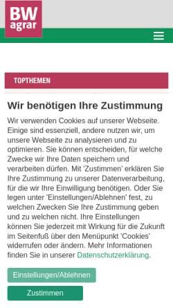 Vorschau der mobilen Webseite www.bwagrar.de, BW agrar: Landwirtschaftliches Wochenblatt und Schwäbischer Bauer